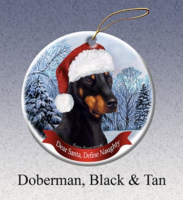 Raining Cats and Dogs | Doberman Black and Tan Dear Santa Dog Christmas Ornament