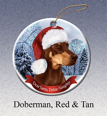 Raining Cats and Dogs | Doberman Red and Tan Dear Santa Dog Christmas Ornament