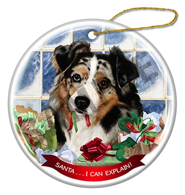 Raining Cats and Dogs | Australian Shepherd Santa I Can Explain  Ornament