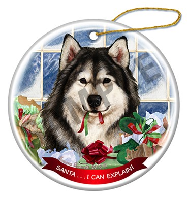 Raining Cats and Dogs | Alaskan Malamute Santa I Can Explain Christmas Ornament