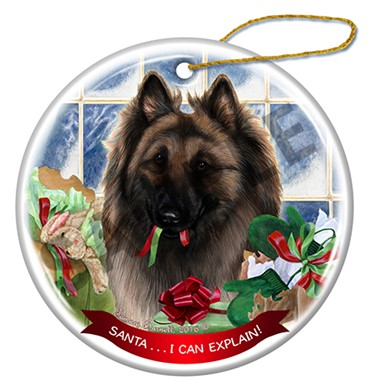 Raining Cats and Dogs | Belgian Tervuren Santa I Can Explain Christmas Ornament