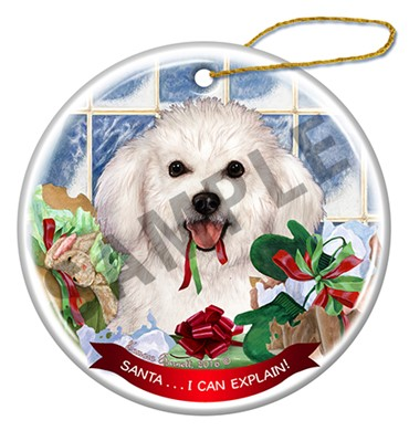 Raining Cats and Dogs | Bichon Frise Santa I Can Explain Ornament