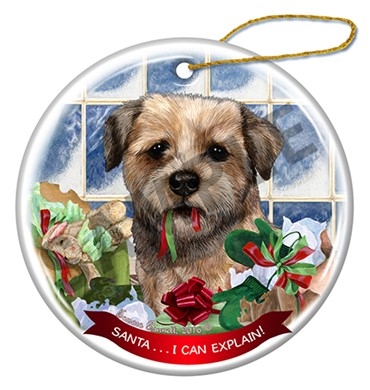 Raining Cats and Dogs | Santa I Can Explain Border Terrier Christmas Ornament