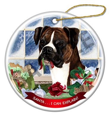 Raining Cats and Dogs | Santa I Can Explain Uncropped Boxer Christmas Ornament