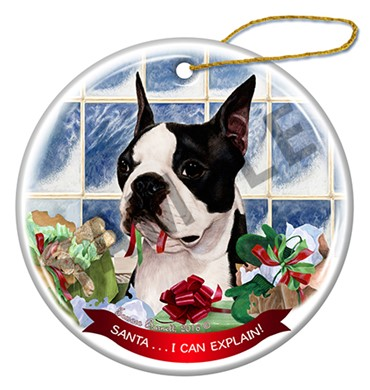 Raining Cats and Dogs | Boston Terrier Santa I Can Explain Christmas Ornament