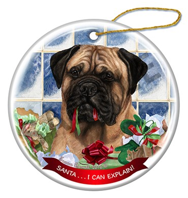 Raining Cats and Dogs | Bullmastiff Fawn Santa I Can Explain Ornament