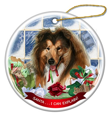 Raining Cats and Dogs | Santa I Can Explain Collie Christmas Ornament