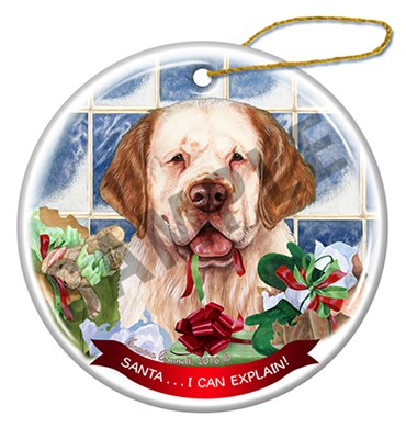 Raining Cats and Dogs | Clumber Spaniel Santa I Can Explain Christmas Ornament