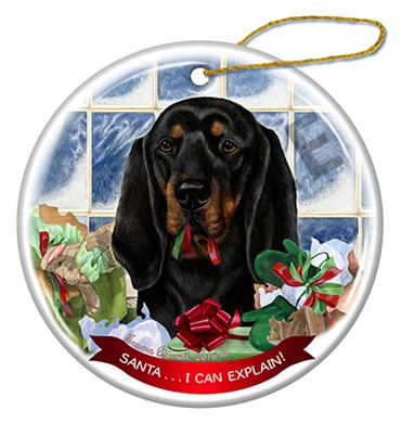 Raining Cats and Dogs | Coonhound Santa I Can Explain Dog Christmas Ornament