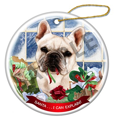 Raining Cats and Dogs |Santa I Can Explain French Bulldog Christmas Ornament