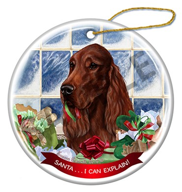 Raining Cats and Dogs | Santa I Can Explain Irish Setter Christmas Ornament