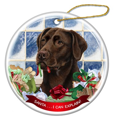 Raining Cats and Dogs | Santa Labrador Retriever Christmas Ornament - click for