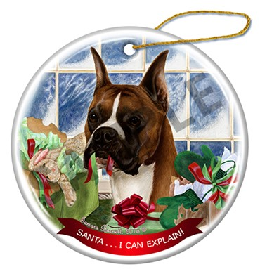 Raining Cats and Dogs | Boxer Cropped Santa I Can Explain Christmas Ornament
