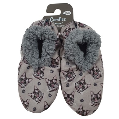 Raining Cats and Dogs | Silver Tabby Cat Comfies Print Slippers
