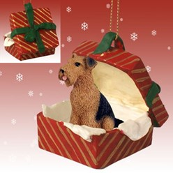 Airedale Gift Box Christmas Ornament