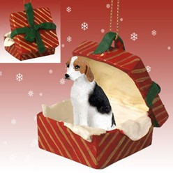 American Foxhound Gift Box Christmas Ornament