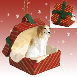 Borzoi Gift Box Christmas Ornament