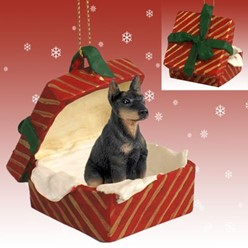 Doberman Gift Box Christmas Ornament
