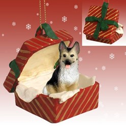 German Shepherd Gift Box Christmas Ornament