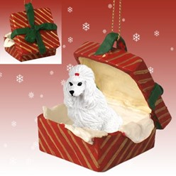 Poodle Gift Box Christmas Ornament