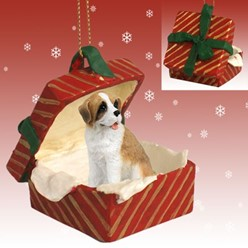 Saint Bernard Gift Box Christmas Ornament- click for more breed options