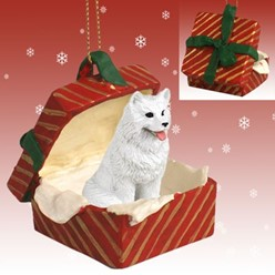 Samoyed Gift Box Christmas Ornament