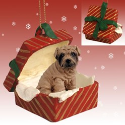 Shar Pei Gift Box Christmas Ornament