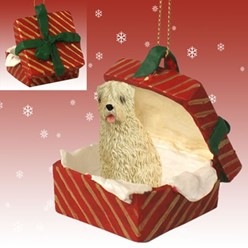 Soft Coated Wheaten Gift Box Christmas Ornament