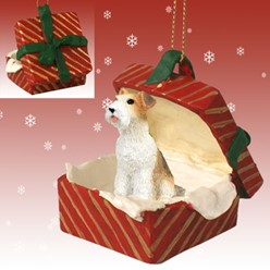 Wire Fox Terrier Gift Box Christmas Ornament