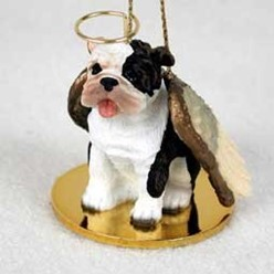 Bulldog Angel Ornament - click for more breed colors