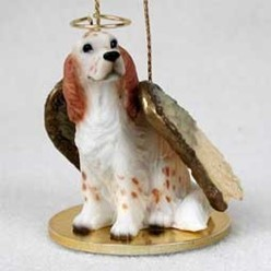 English Setter Angel Ornament - click for more breed colors