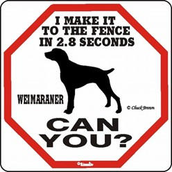 Weimaraner Make It to the Fence in 2.8 Seconds Sign