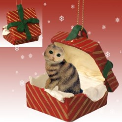 Scottish Fold Cat Gift Box Christmas Ornament- Click for more breed colors