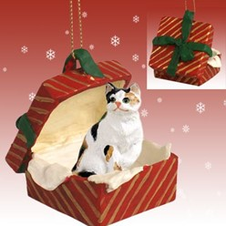 Calico Cat Gift Box Christmas Ornament