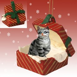 Silver Tabby Cat Gift Christmas Ornament