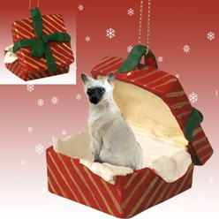 Siamese Cat Gift Box Christmas Ornament