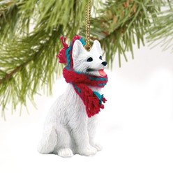 White German Shepherd Christmas Ornament