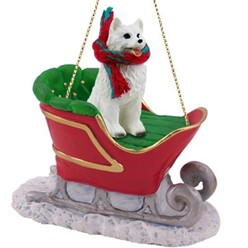 American Eskimo Christmas Ornament with Sleigh- click for more breed colors