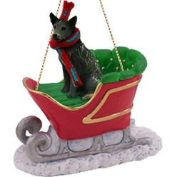 Australian Cattle Dog Christmas Ornament with Sleigh- click for breed colors