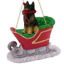 Belgian Tervuren Christmas Ornament with Sleigh
