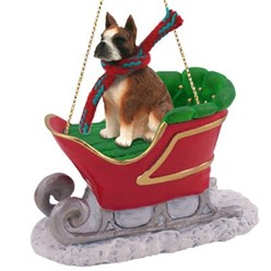 Boxer Christmas Ornament with Sleigh- click for more breed options