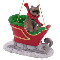 Cairn Terrier Sleigh Christmas Ornament