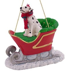 Dalmatian Sleigh Christmas Ornament