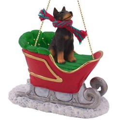 Doberman Sleigh Christmas Ornament