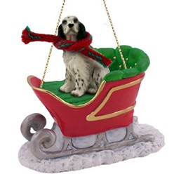 English Setter Sleigh Christmas Ornament