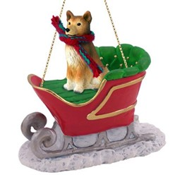 Finnish Spitz Sleigh Christmas Ornament