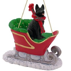 German Shepherd Sleigh Christmas Ornament
