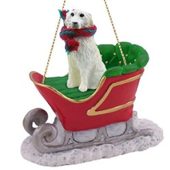 Great Pyrenees Sleigh Christmas Ornament