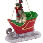 Irish Wolfhound Sleigh Christmas Ornament