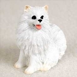 Miniature American Eskimo Tiny One Dog Figurine